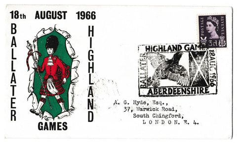 Great Britain Commemorative Cover, 'Ballater Highland Games 1966', Official, Ballater, 18-Aug-1966