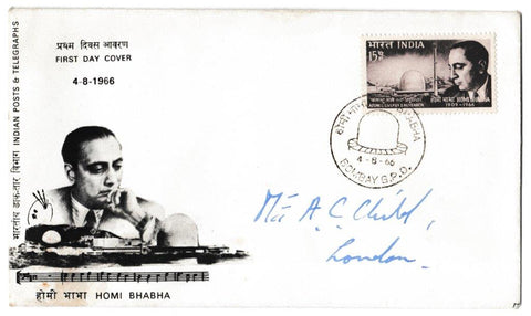Great Britain First Day Cover, 'Homi Babha - India', Official, Bombay GPO, 04-Aug-1966