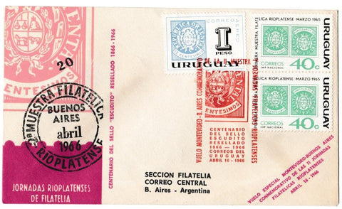 Great Britain Commemorative Cover, 'Buenos Aires Argentina Philatelic Exhibition', Official, Montevideo, 16-Apr-1966