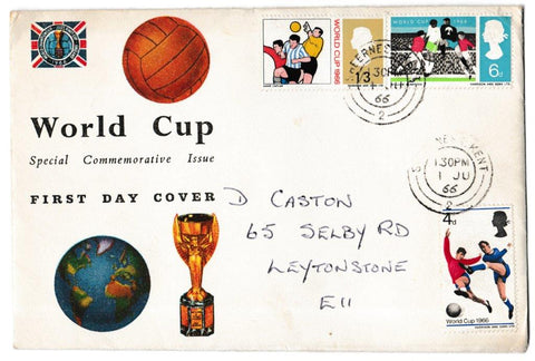 Great Britain First Day Cover, 'World Cup Football Competition', Connoiseur, Sheerness, Kent, 01-Jun-1966
