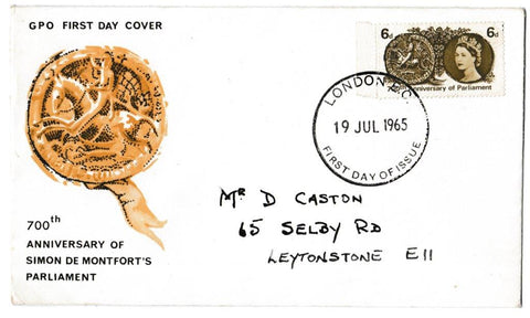 Great Britain First Day Cover, '700th Anniversary of Simon de Montfort's Parliament', Royal Mail, London, EC, 19-Jul-1965