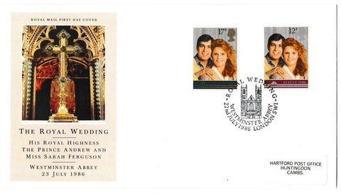 Great Britain First Day Cover, 'The Royal Wedding', Royal Mail, Royal Wedding, Westminster Abbey, London, SW1, 22-Jul-1986