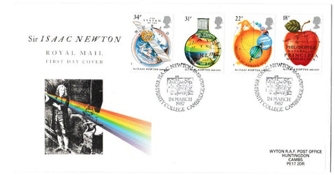 Great Britain First Day Cover, 'Sir Isaac Newton', Royal Mail, Sir Isaac Newton, Trinity College, Cambridge, 25-Mar-1987