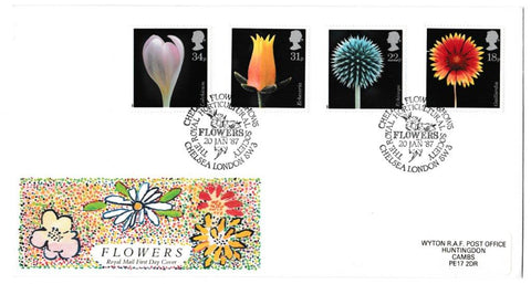 Great Britain First Day Cover, 'Flowers', Royal Mail, Chelsea Flower Shows, Chelsea, London SW3, 20-Jan-1987