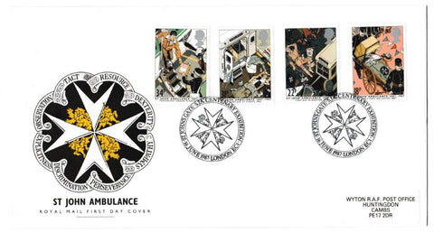 Great Britain First Day Cover, 'Centenary St. John Ambulance', Royal Mail, St Johns Gate Centenary Exhibition, London, EC1, 16-Jun-1987