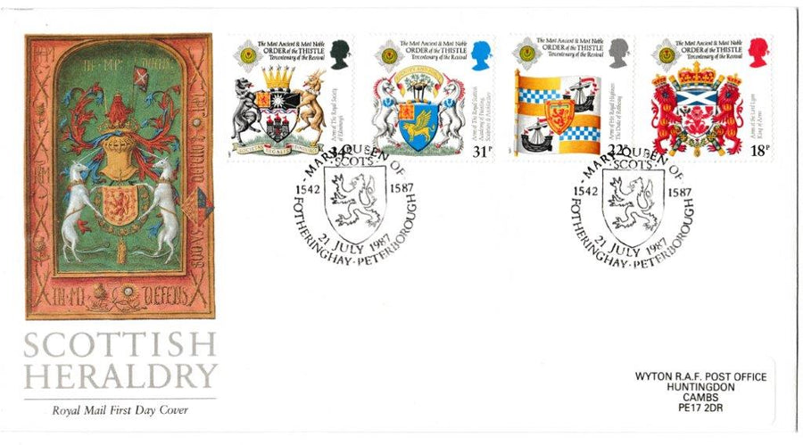 Great Britain First Day Cover, 'Scottish Heraldry', Royal Mail, Mary Queen of Scots, Fotheringay, Peterborough, 21-Jul-1987