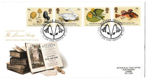 Great Britain First Day Cover, 'Bicentenary of the Linean Society', Royal Mail, Linnean Society, London W1, 19-Jan-1988