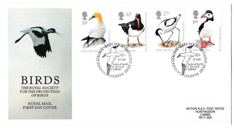 Great Britain First Day Cover, 'Sea Birds - Centenary of the RSPB', Royal Mail, Bass Rock, Britain's Most Famous Gannet Colony, 17-Jan-1989