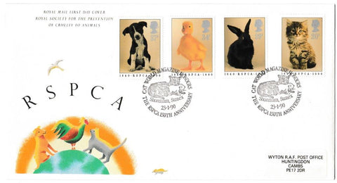 Great Britain First Day Cover, '150th Anniversary RSPCA', Royal Mail, Cat World Magazine Honours the RSPCA, 23-Jan-1990