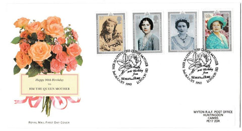 Great Britain First Day Cover, '90th Birthday HM The Queen Mother', Royal Mail, Woman & Home, London, SE1, 02-Aug-1990