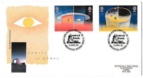 Great Britain First Day Cover, 'Europe in Space', Royal Mail, Joddrell Bank, Macclesfield, Cheshire, 23-Apr-1991
