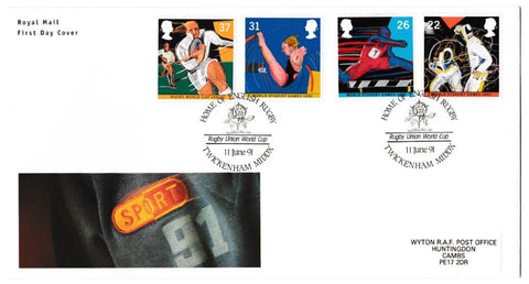 Great Britain First Day Cover, 'Sport - World Student Games - Rugby World Cup', Royal Mail, Home of English Rugby, Twickenham, Middlesex, 11-Jun-1991
