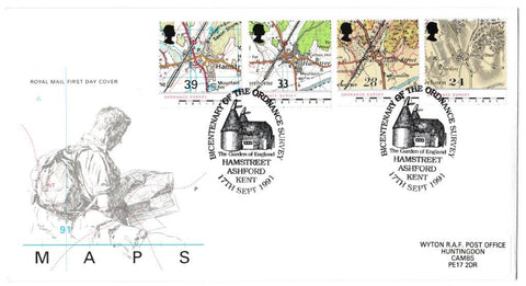 Great Britain First Day Cover, 'Maps - Bicentenary of the Ordnance Survey', Royal Mail, The Garden of England, Hamstreet, Ashford, Kent, 17-Sep-1991