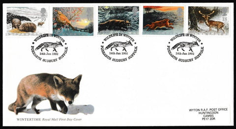 Great Britain First Day Cover, 'Wintertime', Royal Mail, Foxearth, Sudbury, Suffolk, 14-Jan-1992