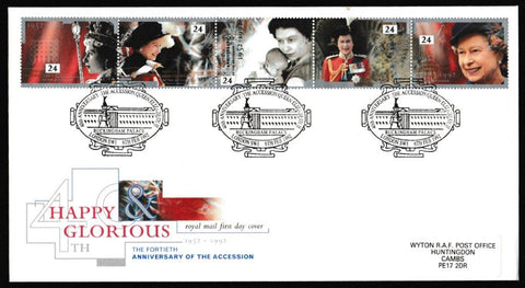 Great Britain First Day Cover, '40th Anniversary of the Queen's Accession', Royal Mail, Buckingham Palace, London, SW1, 06-Feb-1992