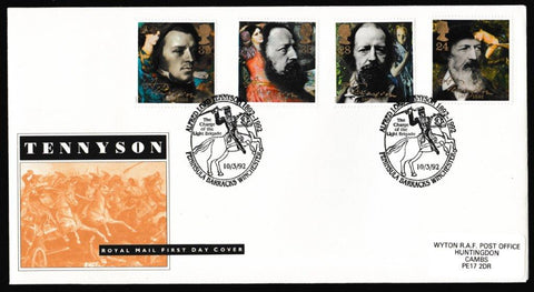 Great Britain First Day Cover, 'Centenary of Alfred Lord Tennyson', Royal Mail, Peninsula Barracks, Winchester, 10-Mar-1992