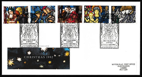 Great Britain First Day Cover, 'Christmas 1992', Royal Mail, Bethlehem, Dyfed, 10-Nov-1992