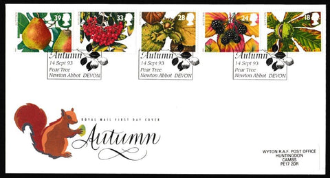 Great Britain First Day Cover, 'Autumn Season', Royal Mail, Pear Tree, Newtown Abbot, Devon, 14-Sep-1993