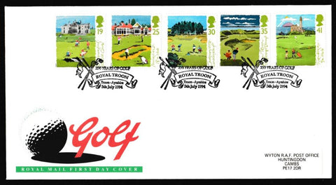Great Britain First Day Cover, 'Golf', Royal Mail, Royal Troon, Ayrshire, 05-Jul-1994
