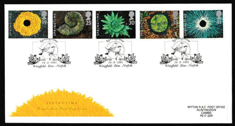Great Britain First Day Cover, 'Springtime', Royal Mail, Wingfield, Diss, Norfolk, 14-Mar-1995
