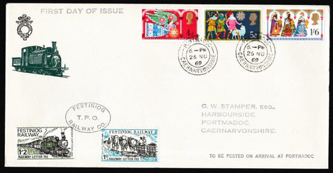 Great Britain First Day Cover, 'Christmas 1969', Festiniog Railway, Portmadoc, 26-Nov-1969