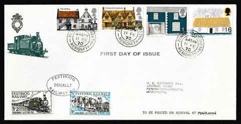 Great Britain First Day Cover, 'British Rural Architecture', Festiniog Railway, Penrhyndeudraeth, 11-Feb-1970