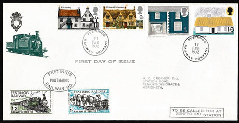 Great Britain First Day Cover, 'British Rural Architecture', Festiniog Railway, Festiniog Railway Company, 11-Feb-1970