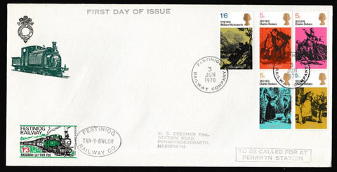 Great Britain First Day Cover, 'Literary Anniversaries', Festiniog Railway, Festiniog Railway Company, 03-Jun-1970