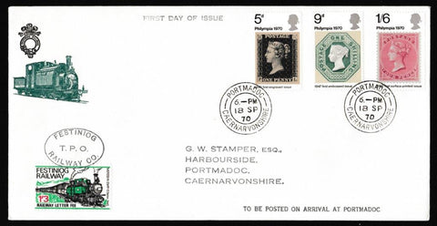 Great Britain First Day Cover, 'Philympia International Stamp Exhibition', Festiniog Railway, Portmadoc, 18-Sep-1970