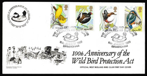 Great Britain First Day Cover, 'British Birds', Presentation, West Midland Bird Club, Birmingham, 16-Jan-1980