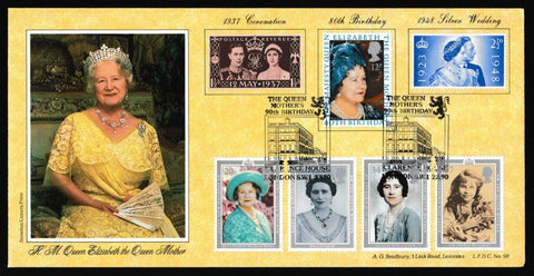 Great Britain First Day Cover, '90th Birthday HM The Queen Mother', Bradbury, 90th Birthday HM The Queen Mother, London SW1, 02-Aug-1990