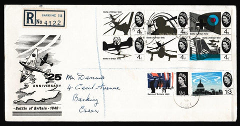 Great Britain First Day Cover, '25th Anniversary of Battle of Britain', Unknown, Upney Barking, Essex, 13-Sep-1965