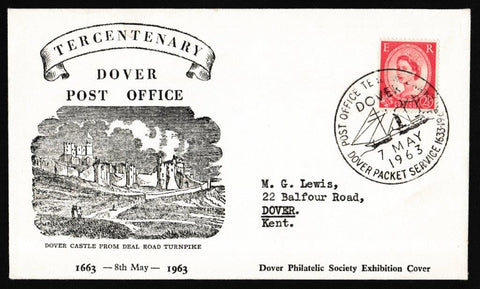 Great Britain Commemorative Cover, 'Tercentenary Dover Post Office', PTS/BPA, Post Office Tercentenary, Dover, 07-May-1963