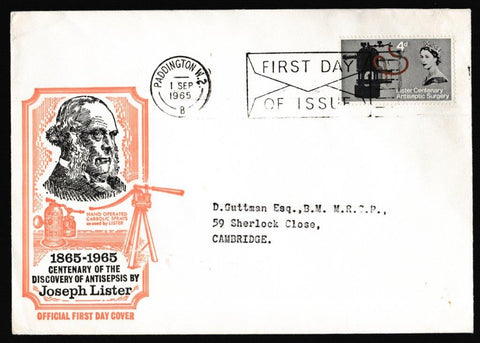 Great Britain First Day Cover, 'Centenary of Listers Discovery of Antiseptic Surgery', PTS/BPA, Paddington, 01-Sep-1965