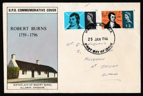 Great Britain First Day Cover, 'Robert Burns Commemoration', Royal Mail, Ipswich, Suffolk, 25-Jan-1966