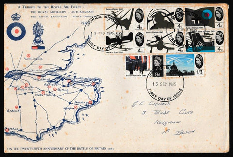 Great Britain First Day Cover, '25th Anniversary of Battle of Britain', Unknown, Ipswich, Suffolk, 13-Sep-1965