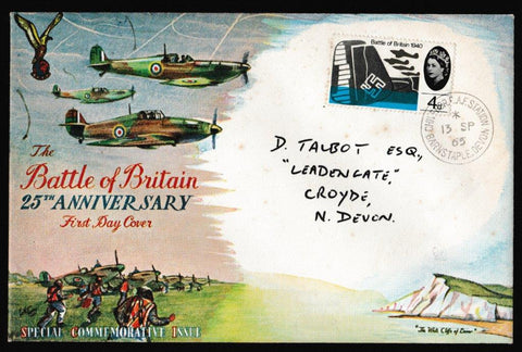 Great Britain First Day Cover, '25th Anniversary of Battle of Britain - RAF Chivenor', Connoiseur, Chivenor RAF Station, Barnstaple, Devon, 13-Sep-1965
