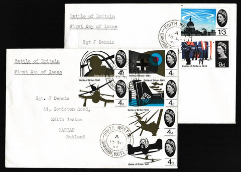 Great Britain First Day Cover, '25th Anniversary Battle of Britain - Edith Weston CDS', Plain, Edith Weston, Oakham, Rutland, 13-Sep-1965