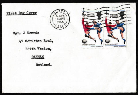 Great Britain First Day Cover, '1966 World Cup - England Winners', Plain, Grays, Essex, 18-Aug-1966