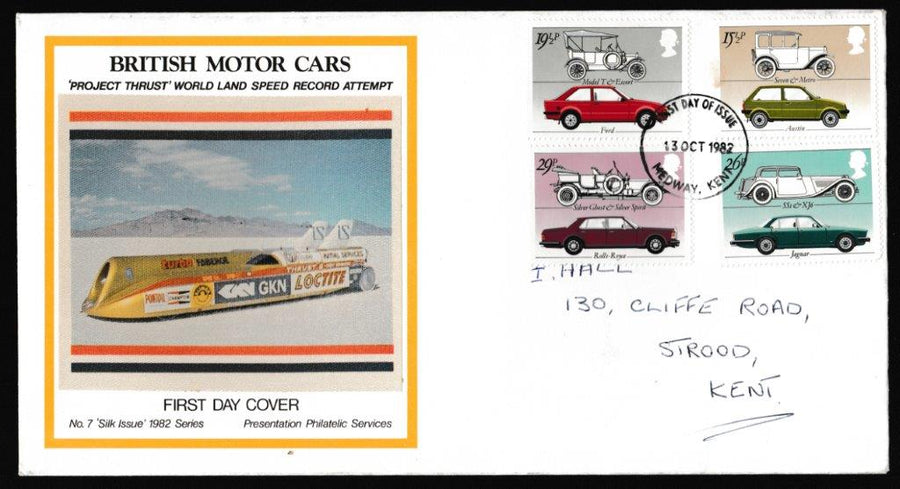 Great Britain First Day Cover, 'British Motor Industry', Presentation, Medway, Kent, 13-Oct-1982