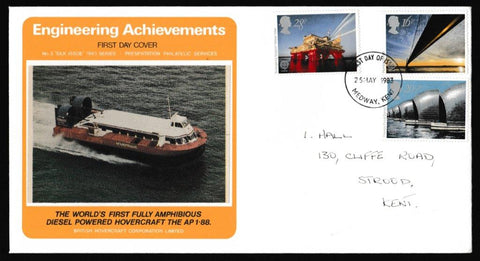 Great Britain First Day Cover, 'Engineering Achievements', Presentation, Medway, Kent, 25-May-1983