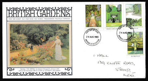 Great Britain First Day Cover, 'British Gardens', Presentation, Medway, Kent, 24-Aug-1983