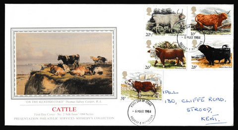 Great Britain First Day Cover, 'British Cattle', Presentation, Medway, Kent, 06-Mar-1984
