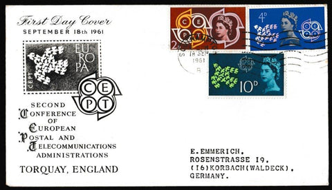 Great Britain First Day Cover, 'European Postal and Telecommunications Conference (CEPT)', PTS/BPA, Southampton , 18-Sep-1961