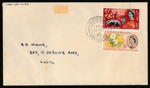 Great Britain First Day Cover, 'National Nature Week', Plain, Cults, Aberdeen, 16-May-1963