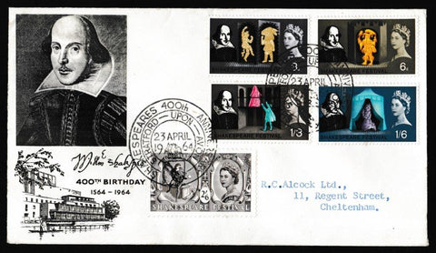 Great Britain First Day Cover, 'Shakespeare Festival', PTS/BPA, Shakespeares 400th Anniversary, Stratford Upon Avon, 23-Apr-1964