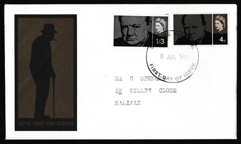 Great Britain First Day Cover, 'Sir Winston Churchill Commemoration', Royal Mail, Bradford, Yorkshire, 08-Jul-1965