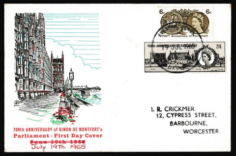 Great Britain First Day Cover, '700th Anniversary of Simon de Montfort's Parliament', Rembrandt, Evesham, Worcs, 19-Jul-1965