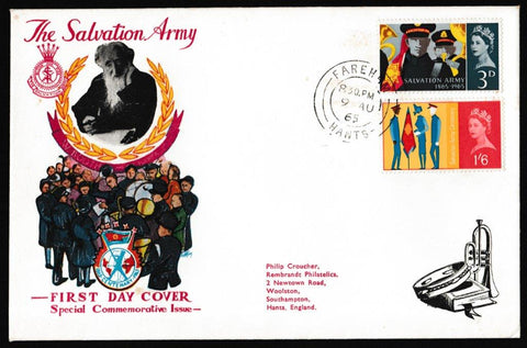 Great Britain First Day Cover, 'Salvation Army Centenary', Rembrandt, Fareham, 09-Aug-1965