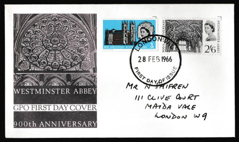 Great Britain First Day Cover, '900th Anniversary of Westminster Abbey', Royal Mail, London W1, 28-Feb-1966